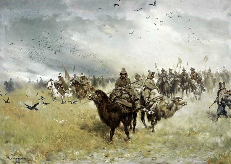 Obraz Józefa Ryszkiewicza przedstawiający tatarską straż przednią pod Cecorą (domena publiczna).