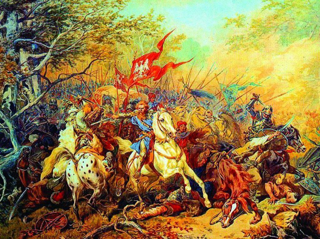 Obraz Juliusza Kossaka przedstawiający Jana Fredrę ratującego króla Jana Olbrachta na Bukowinie. (domena publiczna).