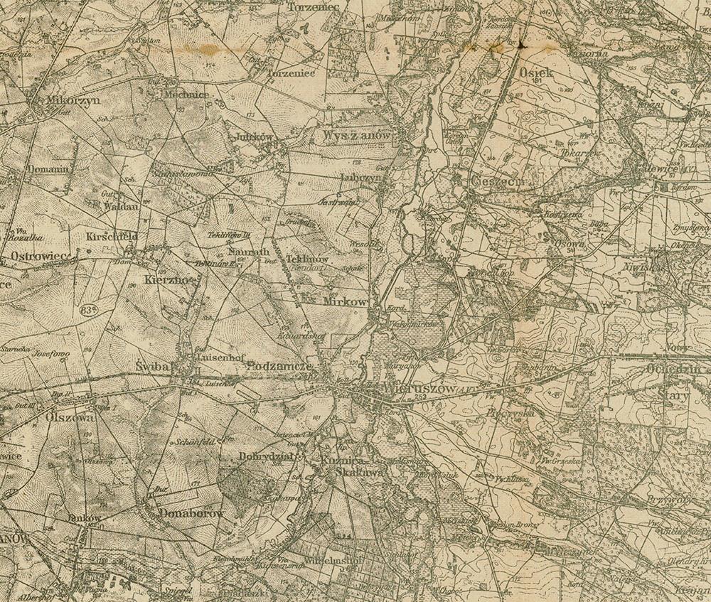 Okolice Wieruszowa na polskiej mapie wojskowej