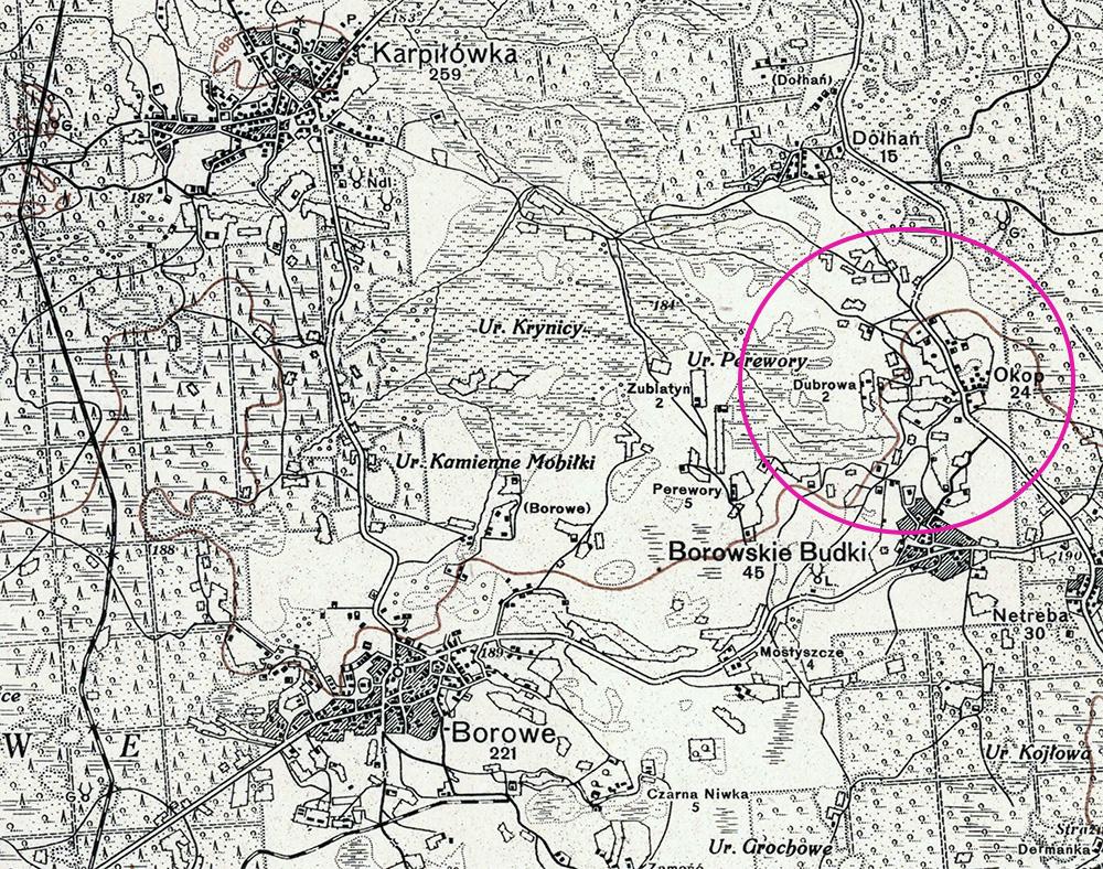 Okopy i okoliczne miejscowości na polskiej mapie wojskowej z 1928 roku.