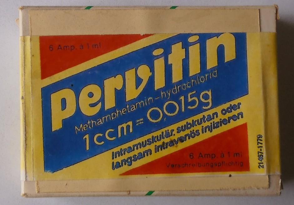 Opakowanie pervitinu z przełomu lat 30. i 40 XX wieku (Komischn/CC BY-SA 4.0).