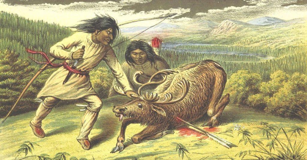 Polowanie na renifery na Labradorze. Grafika XIX-wieczna