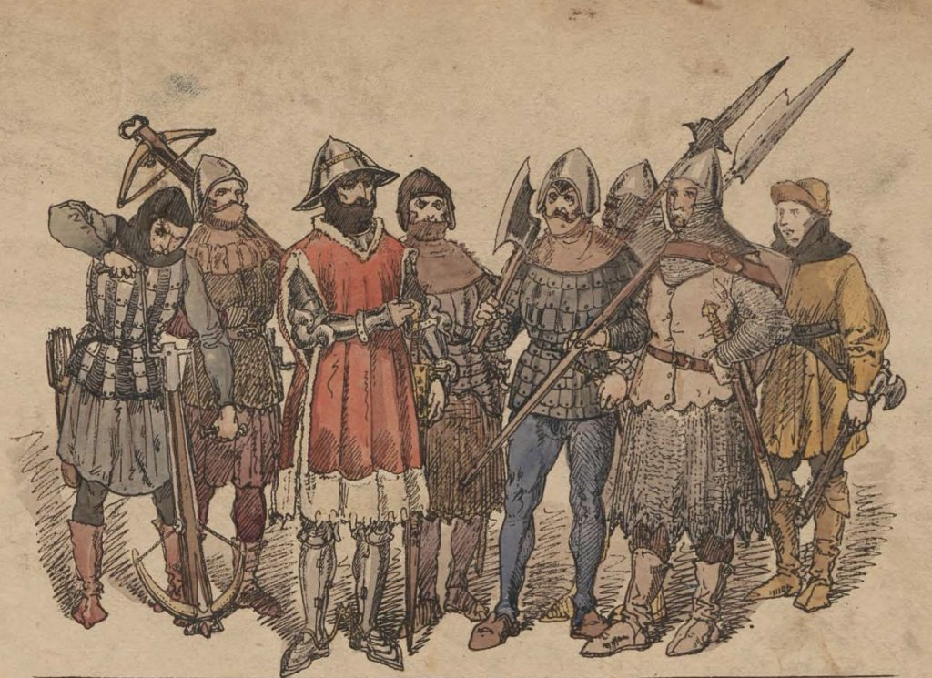Polskie rycerstwo z drugiej połowy XV wieku według Jana Matejki (domena publiczna).
