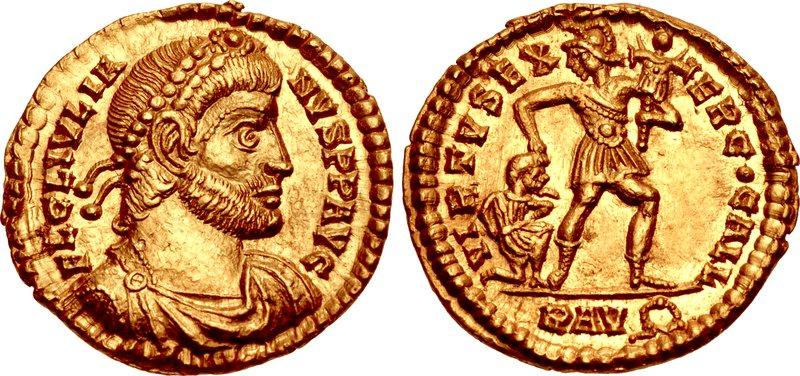 Profil Juliana Apostaty na monecie wybitej w 361 roku