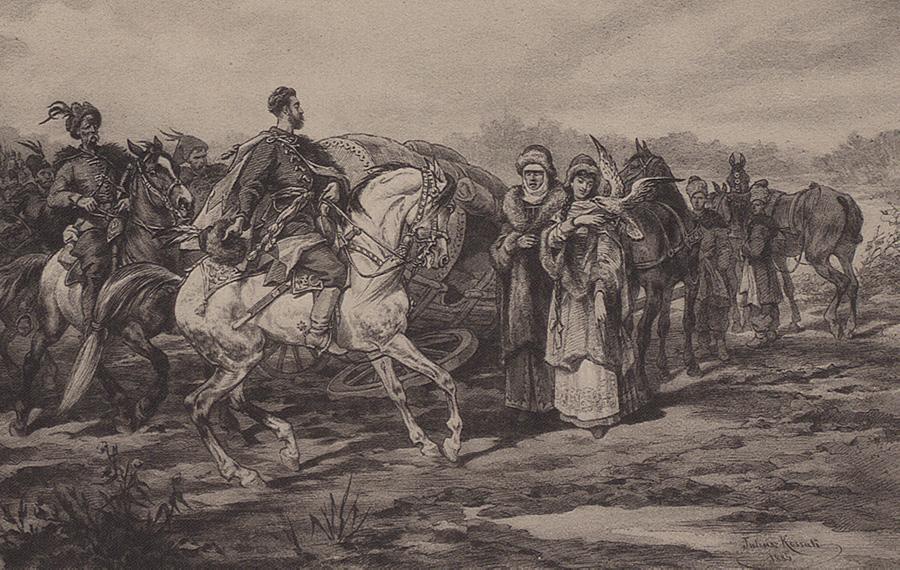 Przegoda w drodze do Łubniów. Ilustracja Juliusza Kossaka