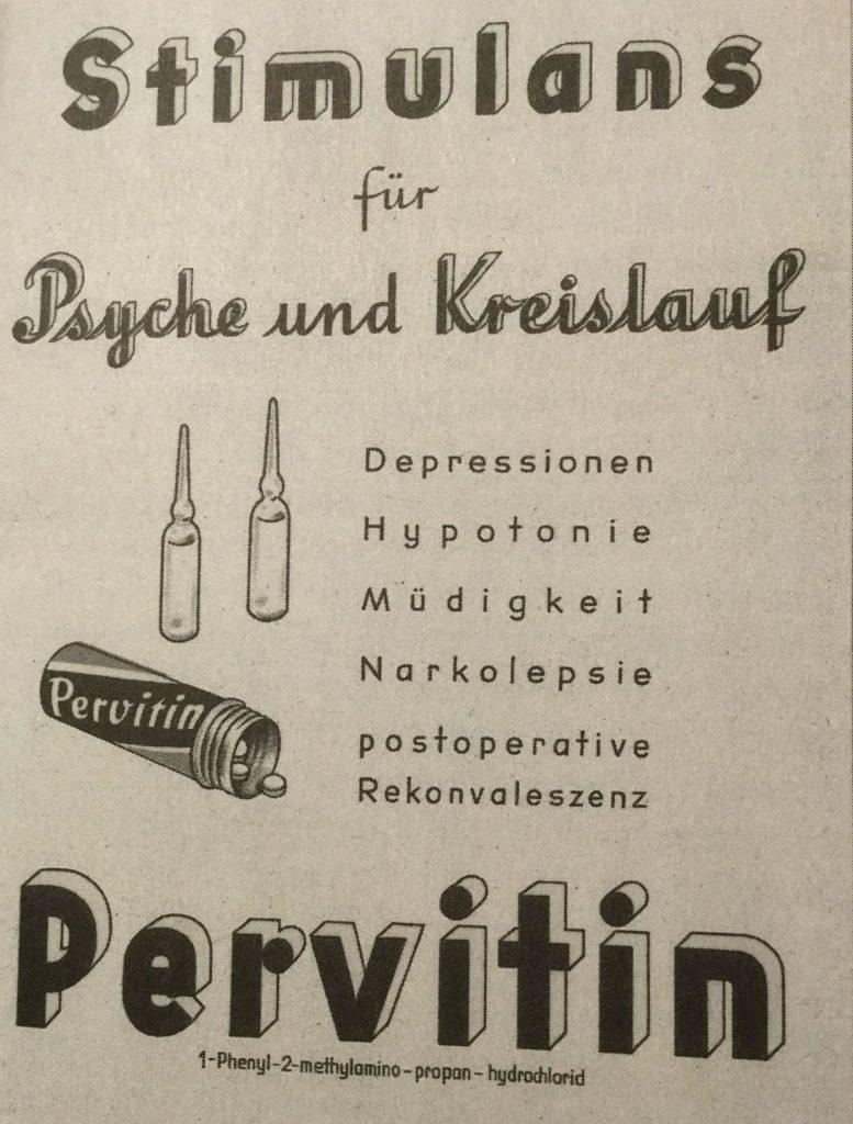Reklama prasowa zachwalająca cudowne działanie pervitinu (domena publiczna).