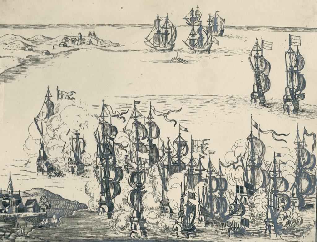 Rycina nieznanego autora z wyobrażeniem bitwy pod Oliwą (domena publiczna).