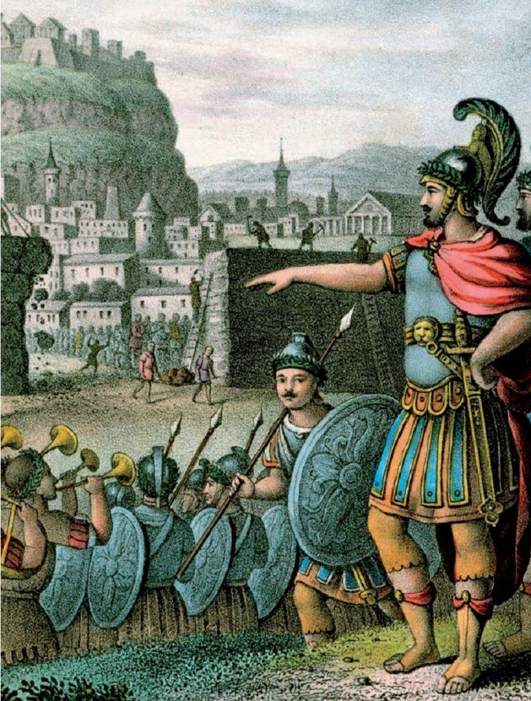 Spartanie pod murami Aten. Grafika XIX-wieczna.