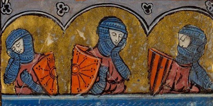 Śpiący rycerze w kolczugach na francuskiej miniaturze z XIII wieku.