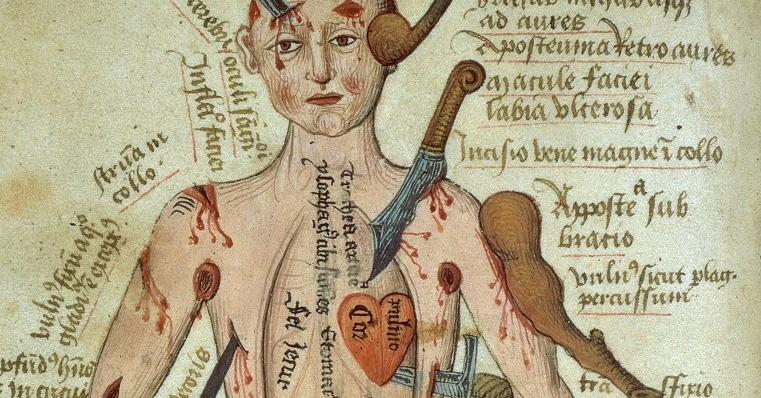 Sylwetka człowieka i zarys anatomi w traktacie wyjaśniającym sposoby leczenia ran