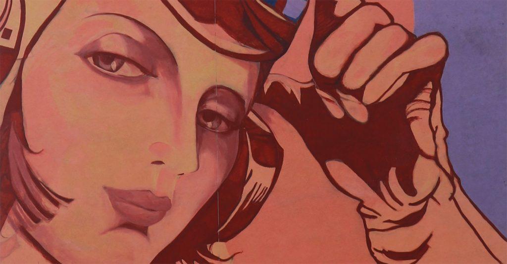 Tamara Łempicka wyobrażona na gdańskim muralu Rafała Roskowińskiego i Jacka Zdybla