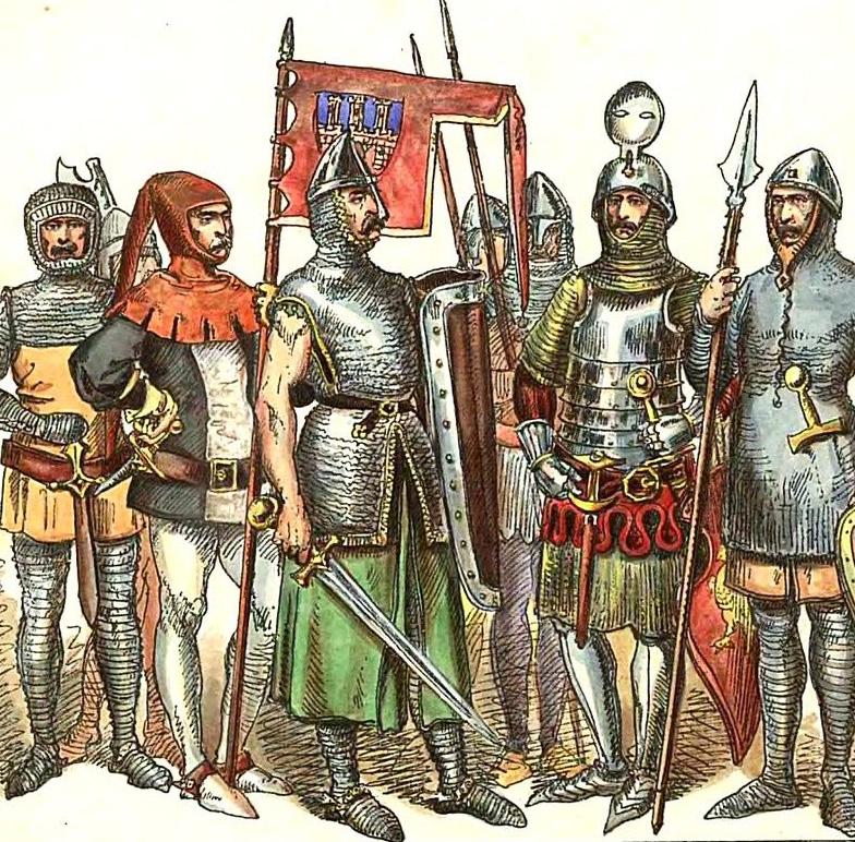 Uzbrojenie polskich rycerzy z XIII wieku na rysunku Jana Matejki.