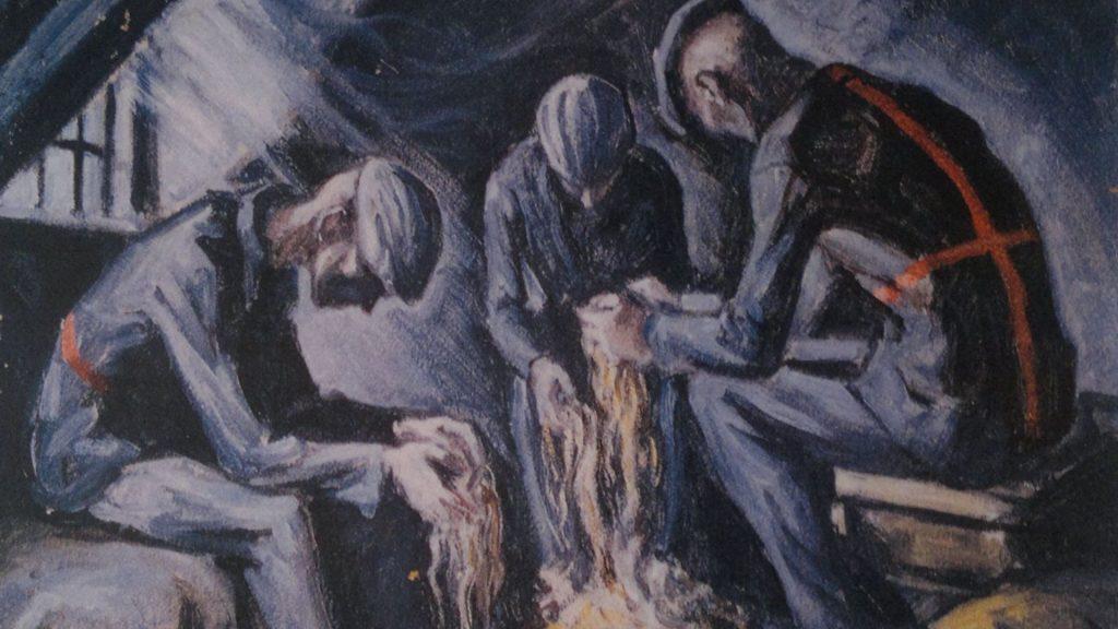 Więźniowie Sonderkommando czyszczący włosy ofiar na poddaszu krematorium (obraz Dawida Olere, byłego więźnia Sonderkommando)