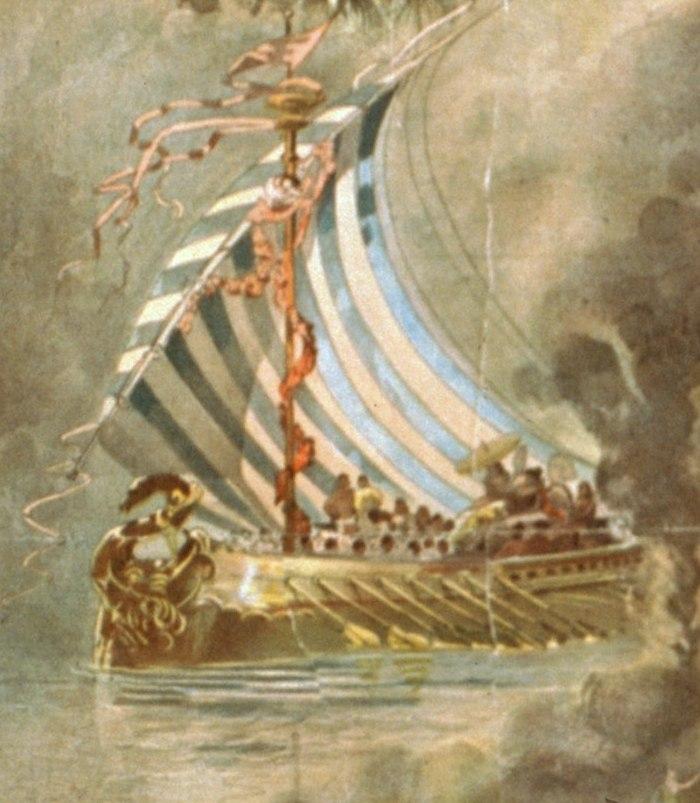XIX-wieczne wyobrażenie okrętu biorącego udział w oblężeniu Troi (domena publiczna).