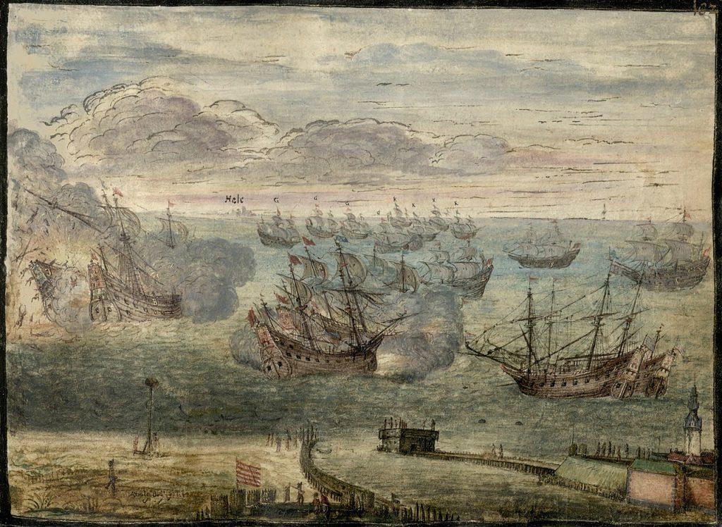 XVII-wieczne przedstawienie bitwy pod Oliwą nieznanego autora (domena publiczna).