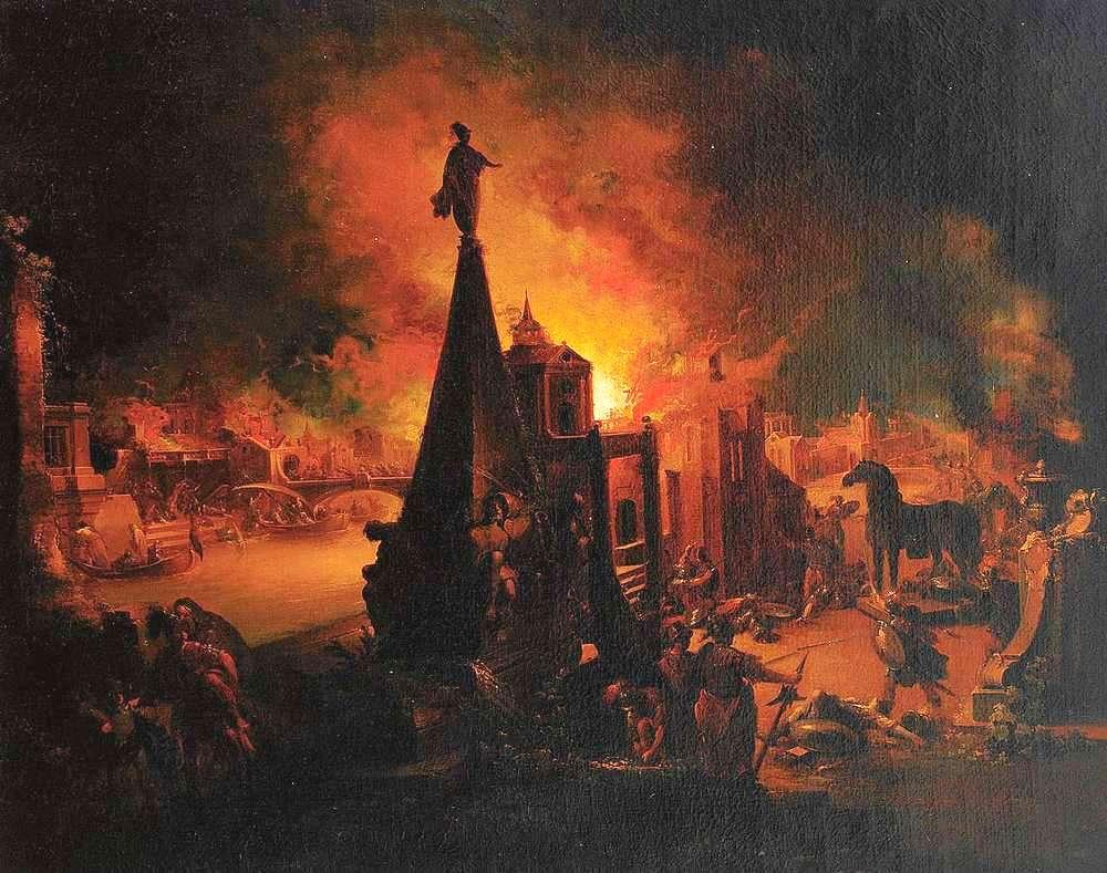 Zniszczenie Troi na obrazie Johanna Georga Trautmanna (domena publiczna).