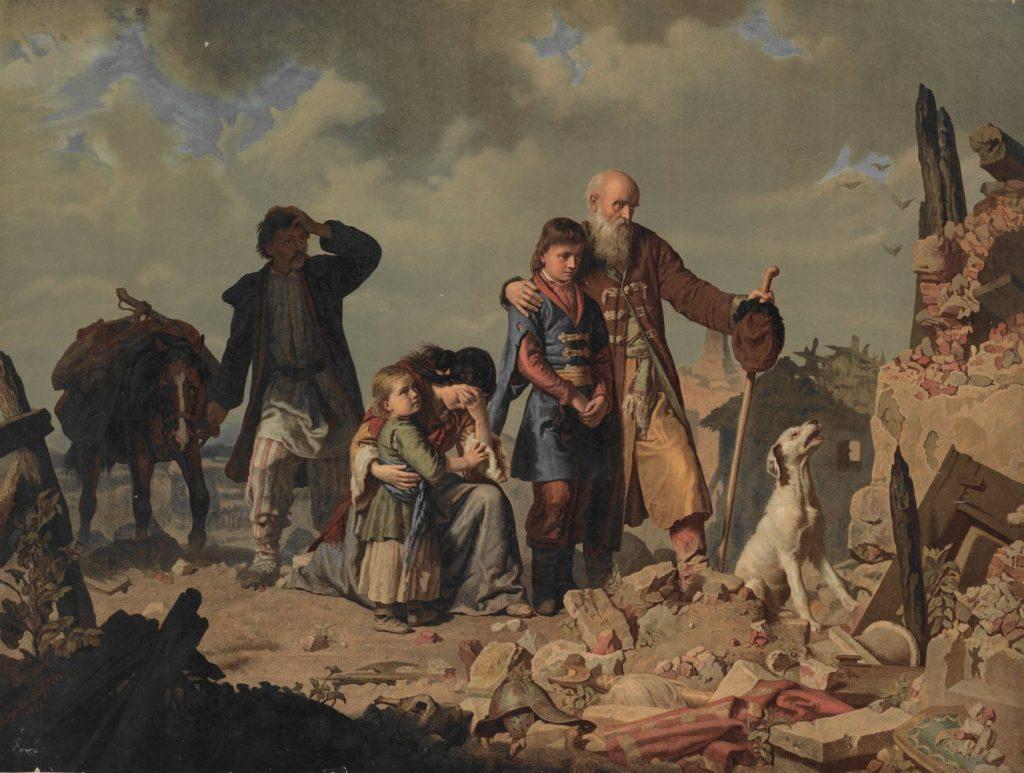 Żółkiewskiemu zarzucano brak sukcesów w walce z Tatarami. Na ilustracji obraz Leopolda Löfflera Po napadzie Tatarów (domena publiczna).