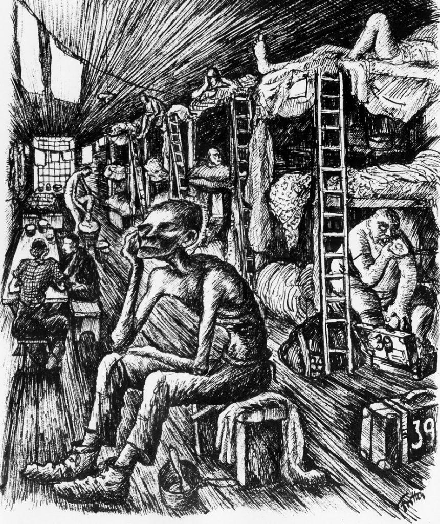 A w takich warunkach naprawdę żyli mieszkańcy Theresienstadt. Rysunek zamordowanego później w Auschwitz Bedřicha Fritta (domena publiczna).