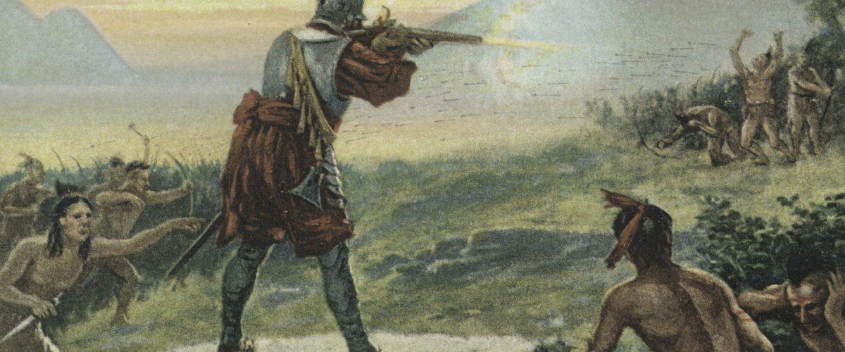 Bitwa z Irokezami na XIX-wiecznej rycinie.