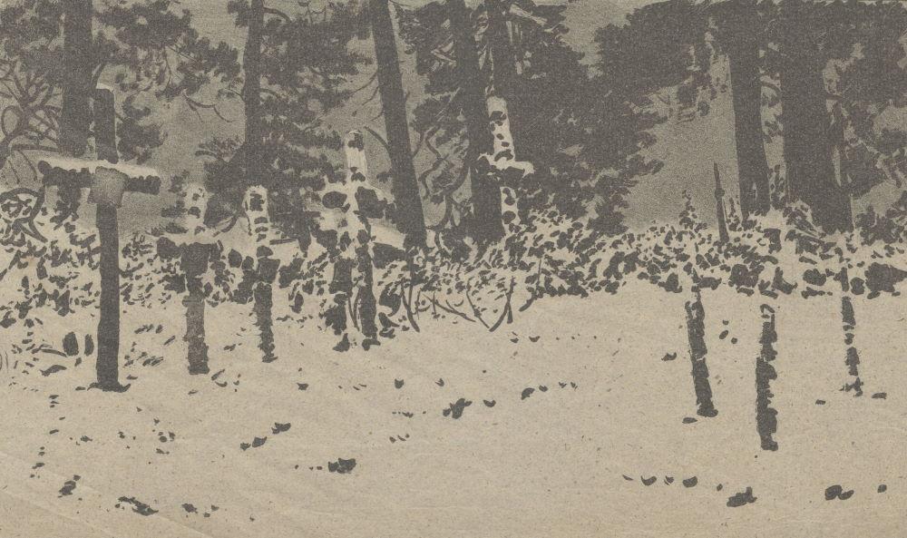 Cmentarz w Wołczecku. Rysunek Leona Wyczółkowskiego.
