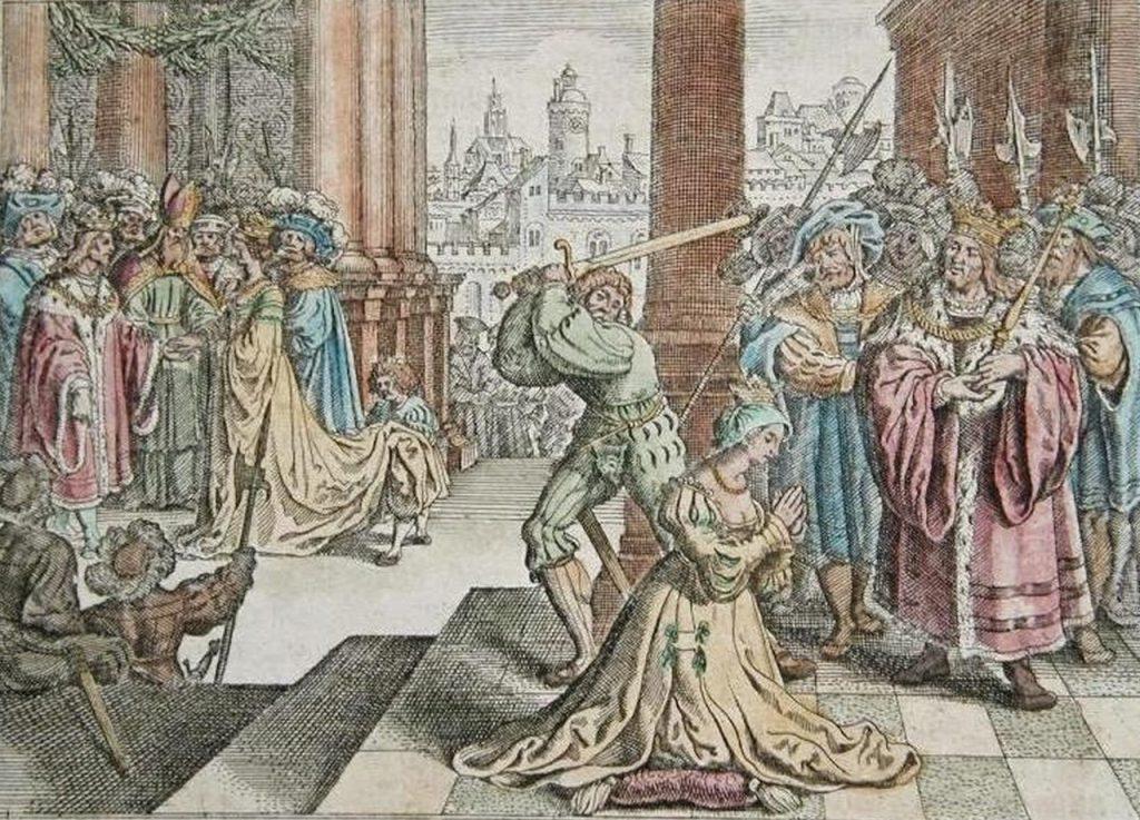 XVII-wieczne wyobrażenie egzekucji Anny Boleyn (domena publiczna).