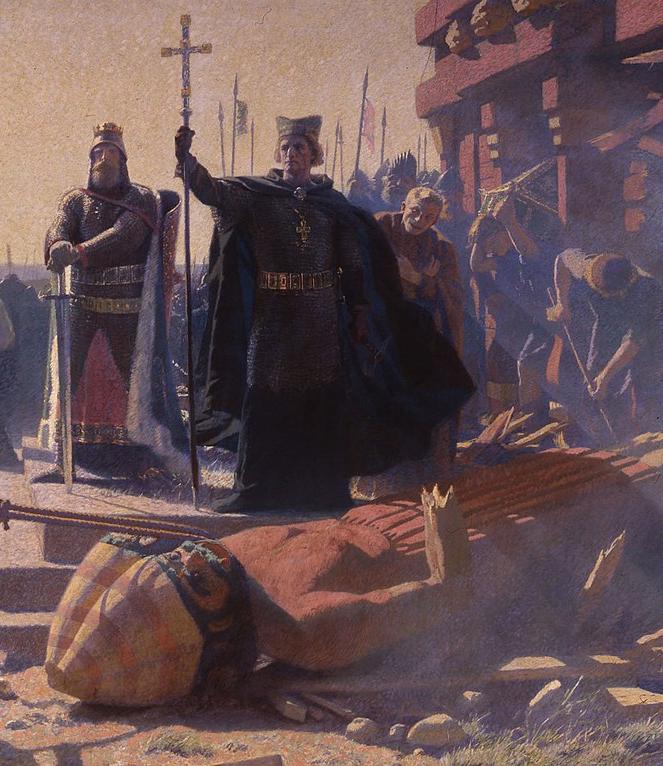Król Waldemar i biskup Absalon w zdobytej Rugii. Obraz XIX-wieczny.