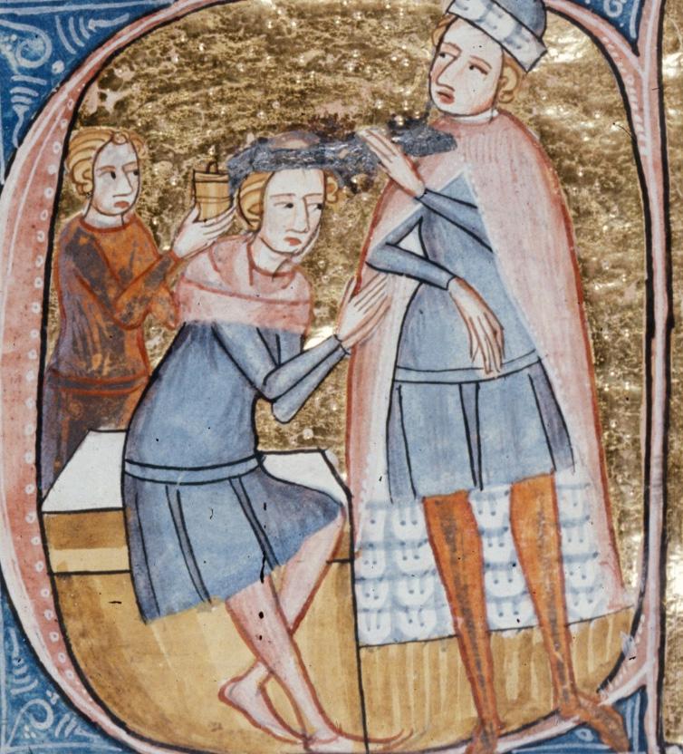 Leczenie mózgu na angielskiej miniaturze z XIV wieku.