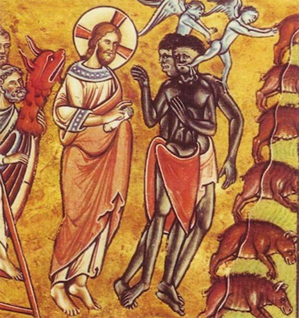 Leczenie opętanych. Angielska miniatura z ok. 1200 roku.