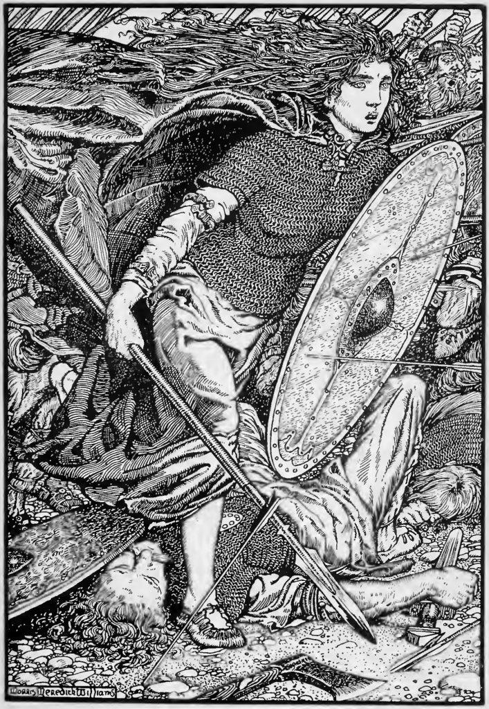 Legendarna tarczowniczka Lagertha wyobrażona na litografii z początku XX wieku