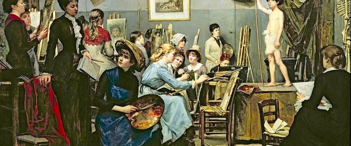Lekcja w Academie Julian na obrazie Marii Baszkircew.