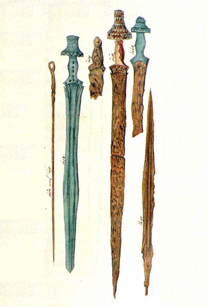 Mieczek kultury holsztackiej na rysunku z połowy XIX wieku (Johann Georg Ramsauer/domena publiczna).