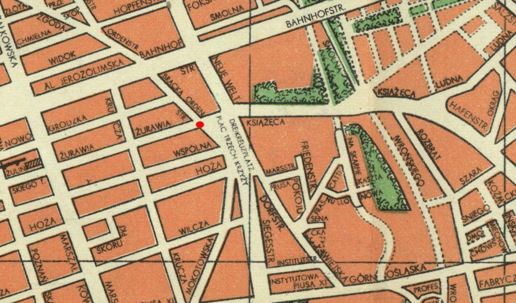 Miejsce zamachu na Leitgebera zaznaczone czerwoną kropką na planie Warszawy z okresu okupacji (domena publiczna).