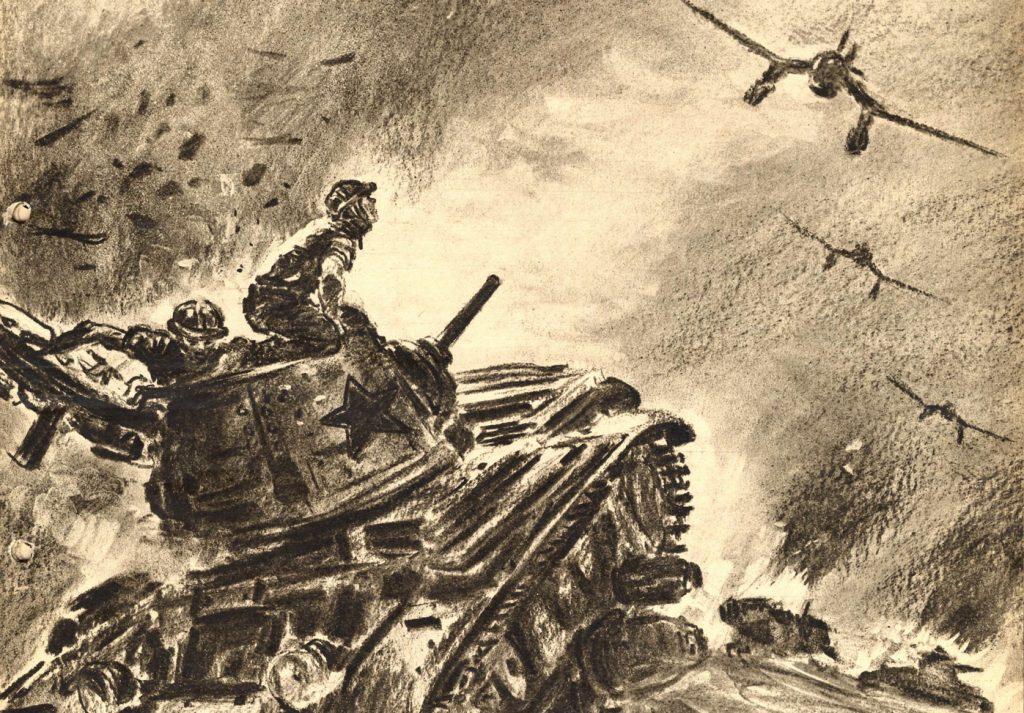 Niemiecki rysunek propagandowy przestawiający Ju 87 Stuka atakujące radzieckie czołgi (domena publiczna).