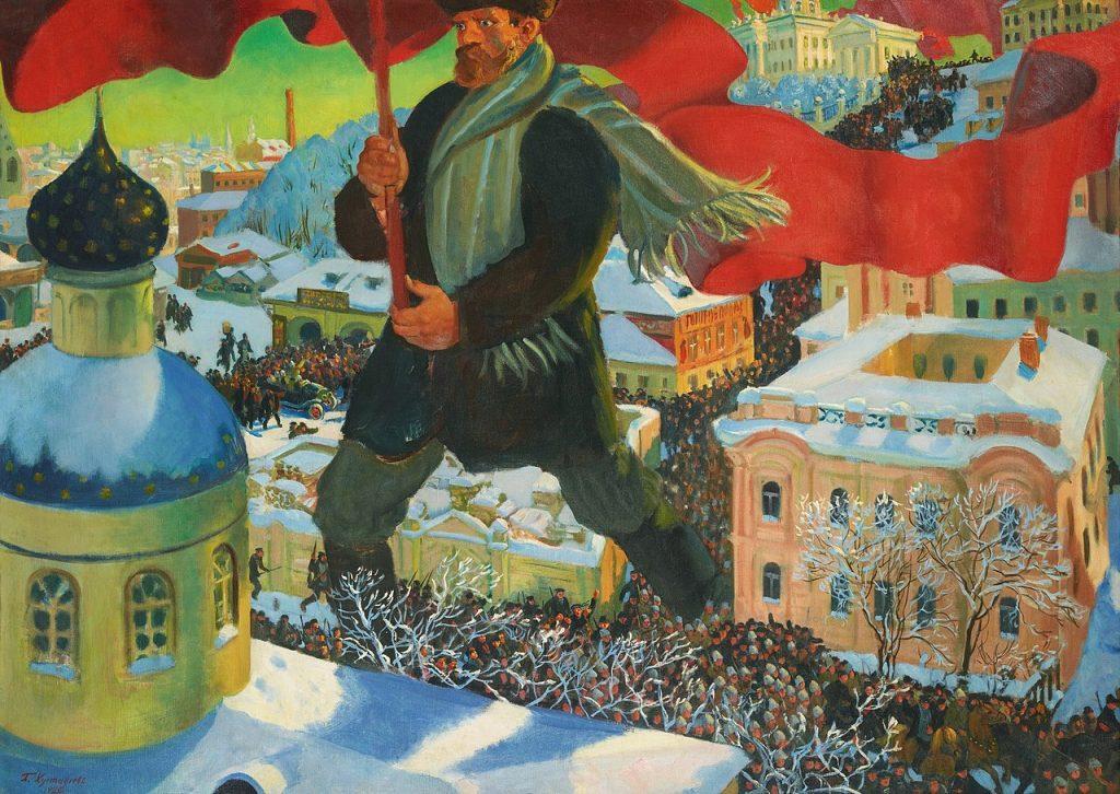 Przejęcie władzy w Rosji przez bolszewików położyło kres wygodnemu życiu Łempicki (Boris Kustodijew/domena publiczna).