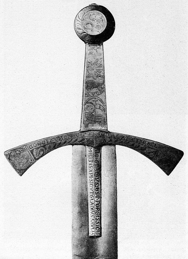 Rękojeść i częśc głowni Szczerbca na zdjęciu z przełomu XIX i XX wieku (domena publiczna).