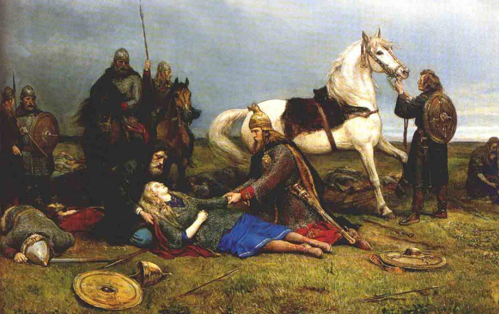 Śmierć Hervor, legendarnej wojowniczki ze skandynawskich sag.