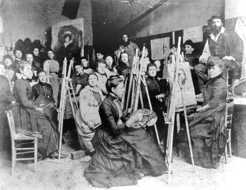 Uczennice Académie Julian na fotografii z 1889 roku.