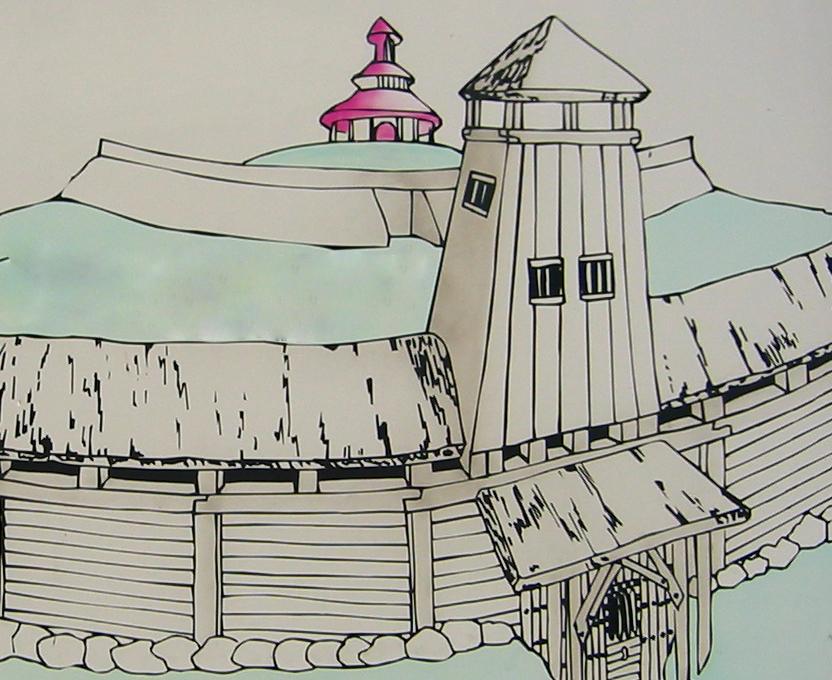 Umocnienia Arkony. Wizualizacja na tablicy turystycznej na Rugii.