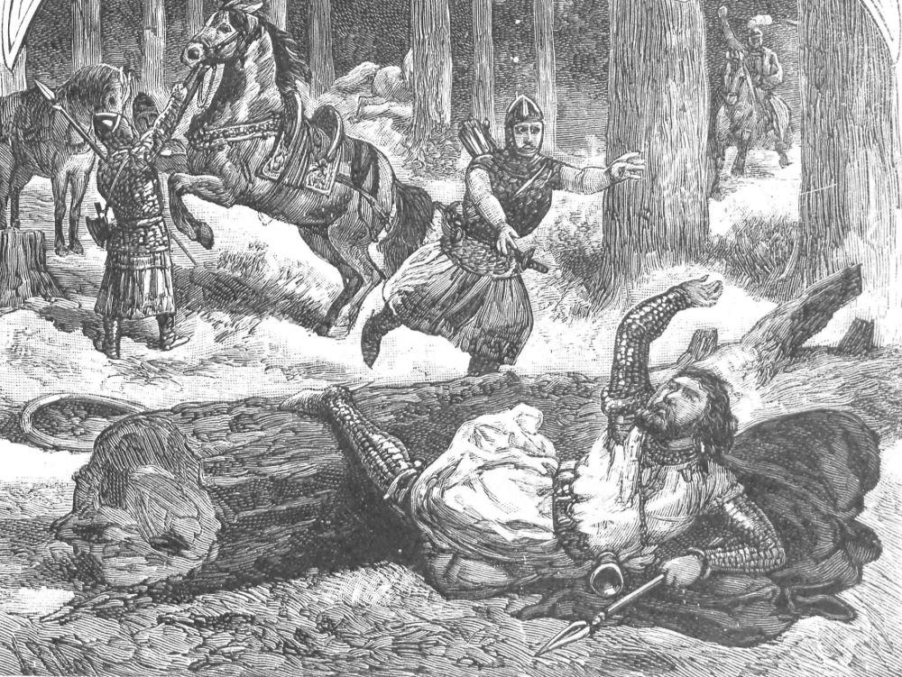 Wypadek Kazimierza Wielkiego na polowaniu w wyobrażeniu Ksawerego Pillatiego.