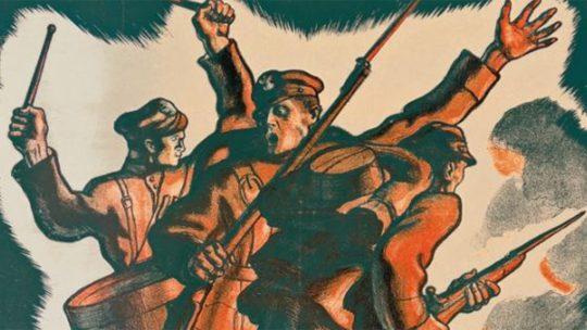 Żołnierze ruszający do boju na polskim plakacie z 1920 roku.