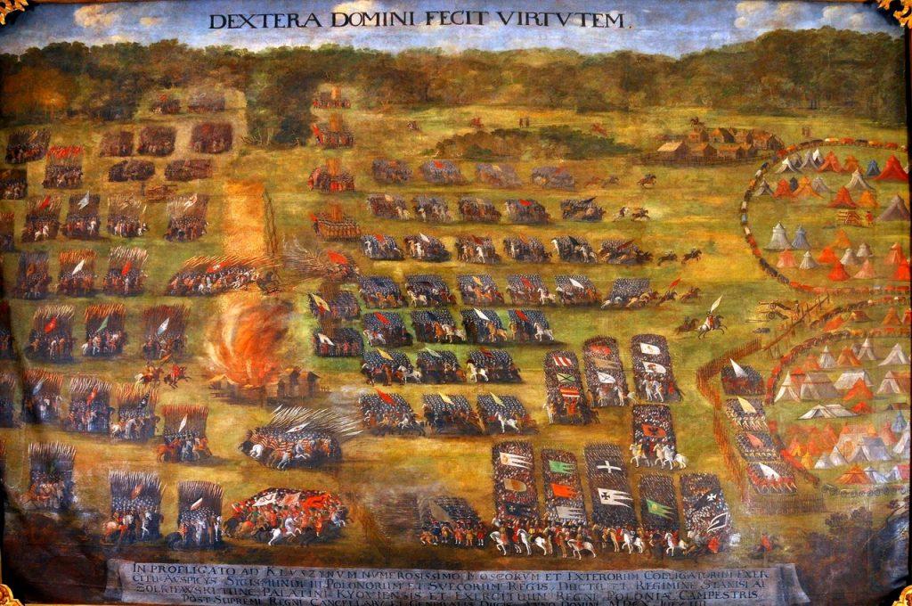 Bitwa pod Kłuszynem na obrazie Szymona Boguszowicza (domena publiczna).