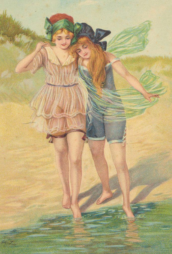 Dwie dziewczynki na wydmie. Pocztówka z początku XX wieku