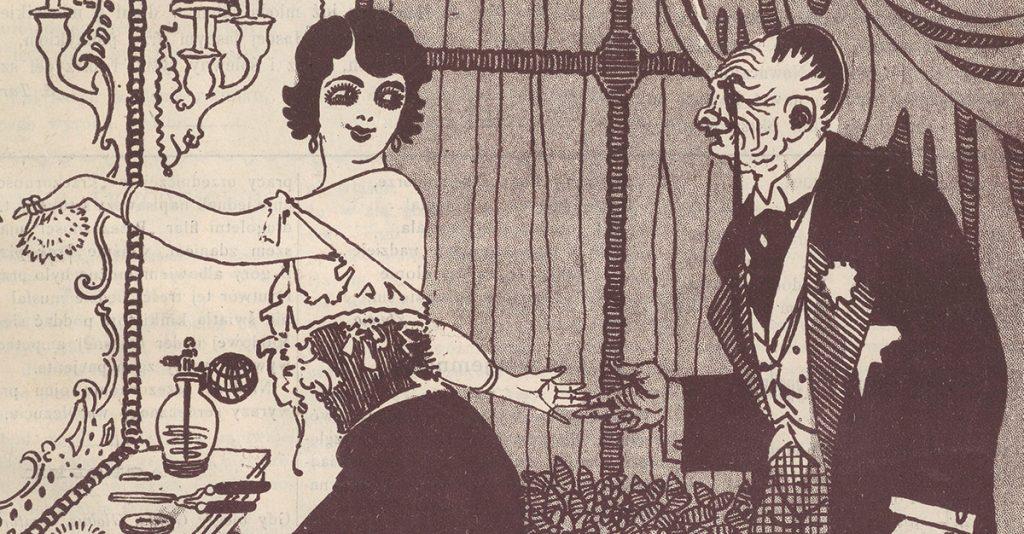 Hrabia uwodziciel na okładce czasopisma Kolce z 1913 roku.