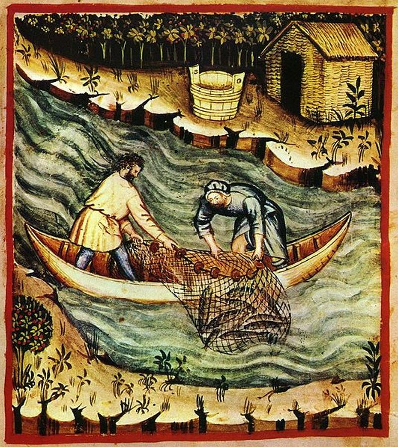 Jadłospis średniowiecznych krakowian był nie do pomyślenia bez ryb (domena publiczna).