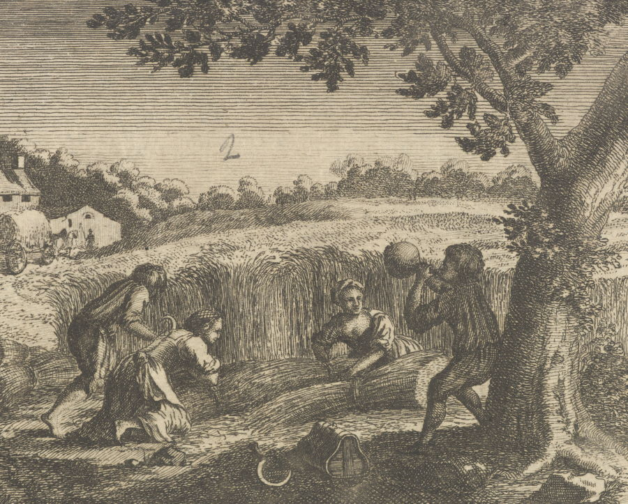 Kobiety podczas żniw. Rycina XVIII-wieczna.
