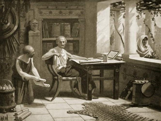 Ksenofont dyktujący swoje dzieła. Rysunek z początku XX wieku.