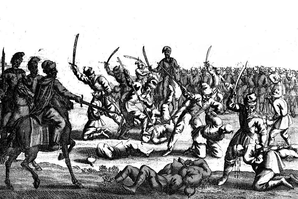 Na rozkaz Chmielnickiego pod Batohem wymordowano kilka tysięcy polskich jeńców (domena publiczna).