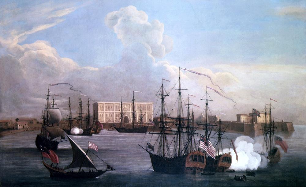Okręty Kompani Wschodnioindyjskiej na redzie portu w Bombaju (Samuel Scott/domena publiczna).