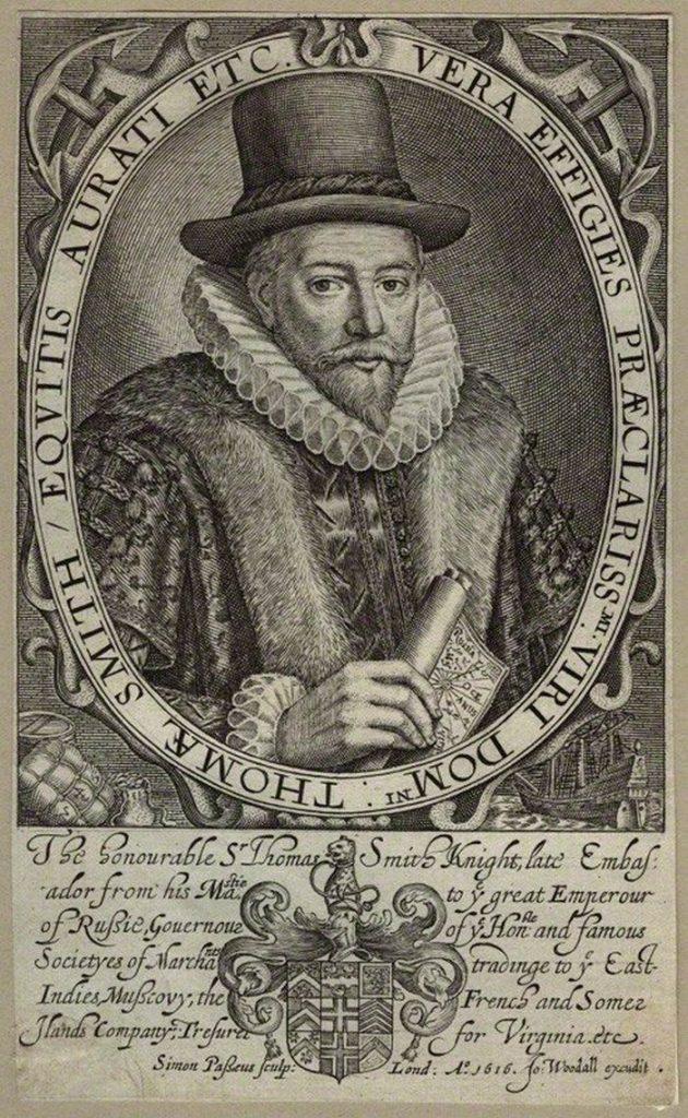 Pierwszym gubernatorem Kompanii Wschodnioindyjskiej został Thomas Smythe (Simon de Passe/domena publiczna).