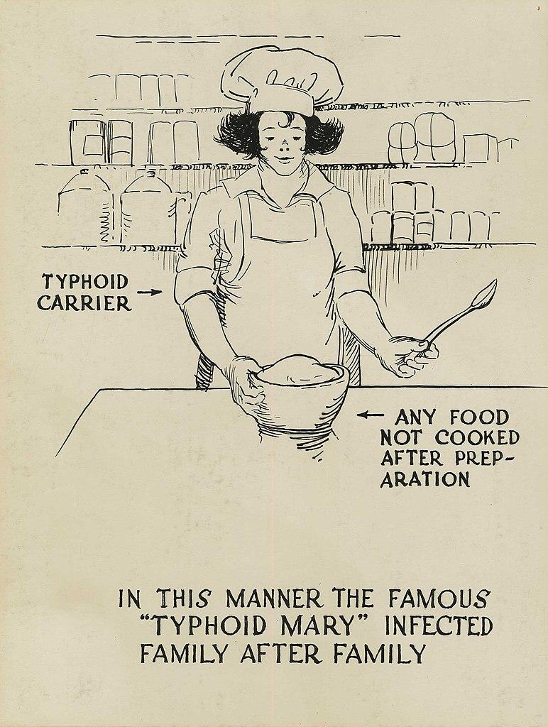 Plakat ostrzegający przed przenoszeniem tyfusu w sposób podobny do Tyfusowej Mary (Otis Historical Archives Nat'l Museum of Health & Medicine/CC BY 2.0).